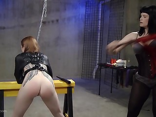 Kinky lesbian fetish servant gets her pussy penetrated here toys