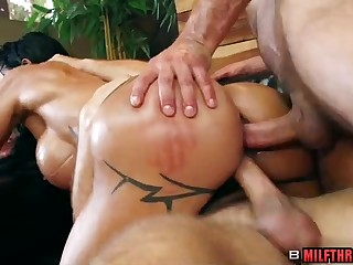 Big aggravation mature threesome sex group sex with an increment of massage
