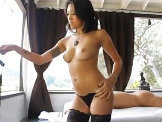 Young exotic brunette with natural tits gives massage followed by hardcore sex and cumshot