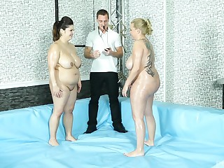 After the catfight BBW Leny please friend's hard pecker on high the floor