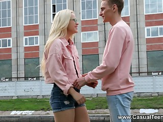 Shy blondie around stockings Nikki Hill gets intimate with her new boyfriend