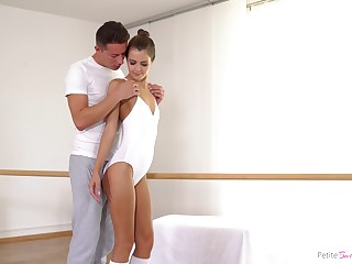 Beautiful ballerina Yvonne is making love with their way dance teacher