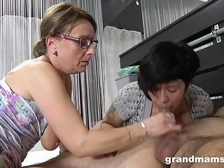 Nasty mature sluts battle over one younger dick and non-appearance more