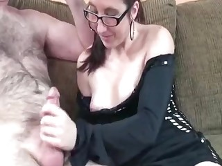 Hardcore pussy and mouth fucking with retiring wife Jana with glasses