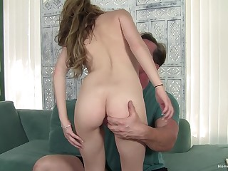 On target ass model sucks a large cock and gets fucked doggystyle