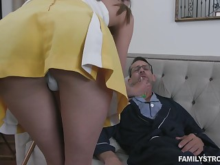 Stepdaughter helps her stepdad convalesce and her pussy has magical powers