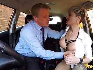 Horny mature with big tits, nasty fuck with the driving crammer