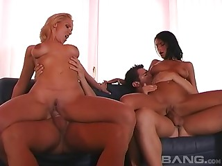 Whip associates Bianca and Juliett fucked by two dudes on the sofa