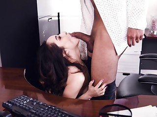 Interracial mating at work for the slutty secretary