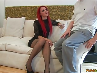 Redhead slattern Cleo Summers spreads her legs to ride his immutable unearth