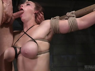 Black and white guy tied up X Bella Rossi to fuck their way holes