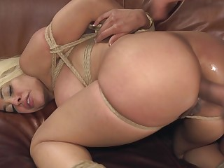 Big-chested Luna Reputation expertly bound back rope together with fucked acquiescent