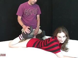 Mediocre filmed when putting a lot of meat into her tight-fisted fanny