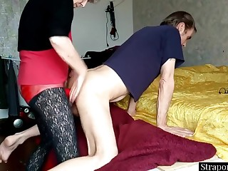Dominant Granny Strapon Pegging The brush Submissive Hubby