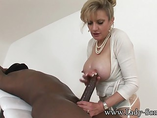 mom Sonia Playing with BIG BLACK DICK - Interracial