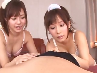 POV dusting of Japanese pamper Minami Kojima giving a BJ with the brush friend