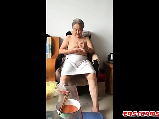 Asian 80+ Granny After take a bath