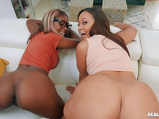 Big ass ebony babes share dick in flaming POV doggy scenes