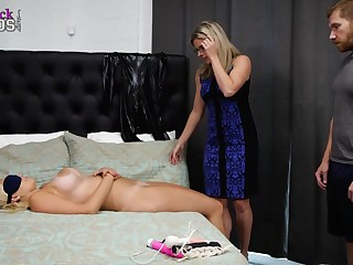Mature light-haired doll is providing free snatch eating classes, if she can add the three way