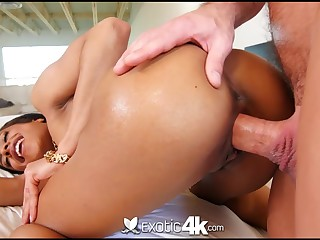 Slender exotic babe with dark skin Kira Noir gets her mouth and pussy fucked