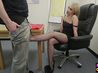Unsatisfactory sexy blonde sucks femdom cock