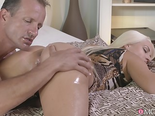 Hot ass blondie Blanche Bradburry massaged and fucked well