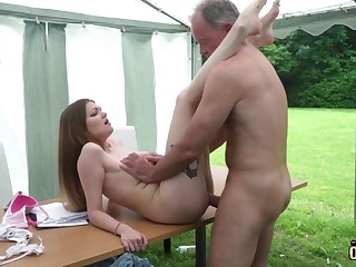 Youthfull nubile entices and tears there venerable fellow then facial cumshot pop-shot
