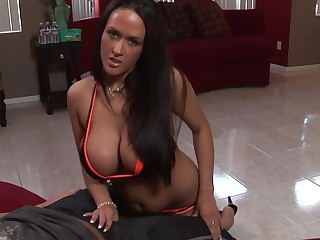 Big boob Carmella Bing aiding handjob