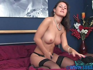 Hot brunette Jess West nearby underclothing added to stockings having just pastime